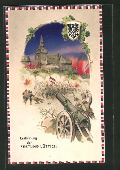 AK Lüttich, Deutsche Truppen stürmen die Festung, Halt gegen das Licht: Brände in der Stadt
