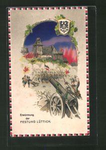 AK Lüttich, Erstürmung der Festung, Halt gegen das Licht: Brände färben den Himmel rot