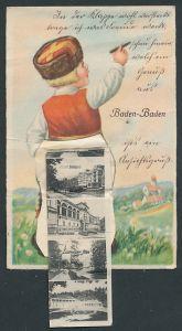 Leporello-AK Baden-Baden, Knabe mit Ansichten hinterm Hosenboden, Hotel Stefanie, Gönneranlagen, Trinkhalle