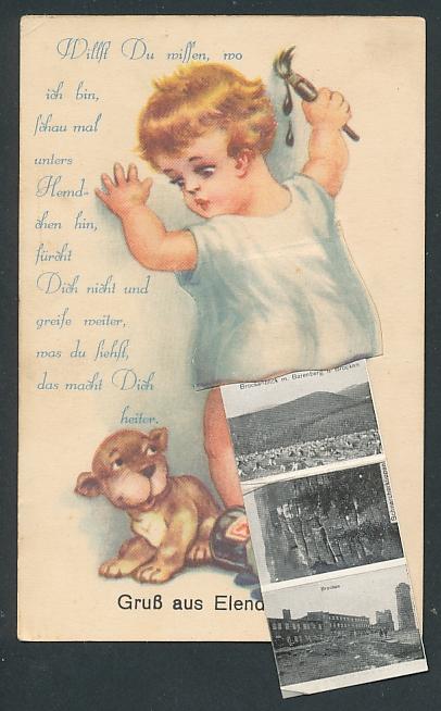 Leporello-AK Elend / Harz, Kleiner Maler mit Ansichten unterm Hemdchen, Hotel St. Hubertus, Hotel Waldmühle