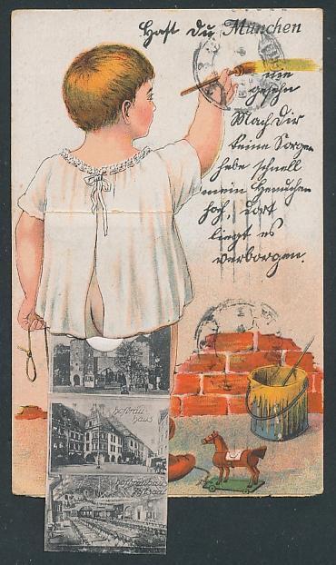 Leporello-AK München, Kleinkind mit Ansichten unterm Hemdchen, Bavaria, Armee-Museum