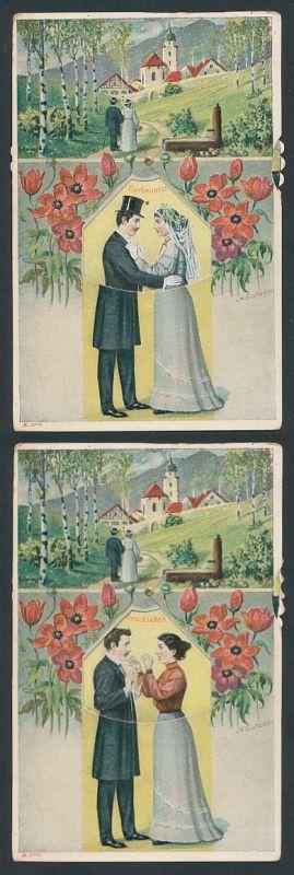 Mechanische-AK Paar - Verliebt, verlobt, verheiratet und geschieden, Per Drehrad wechselbares Motiv 0