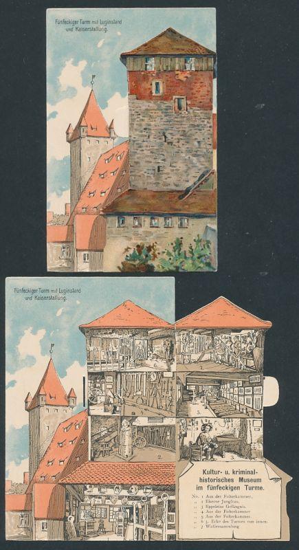 Mechanische-AK Nürnberg, Fünfeckiger Turm mit Luginsland und Kaiserstallung, Innenansicht nach Aufklappen