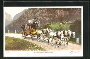 AK Schweizerische Gebirgspost, Postkutsche