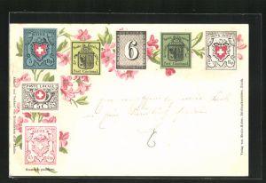 Lithographie Schweizerische Briefmarken, Poste de Geneve, Alpenrosen