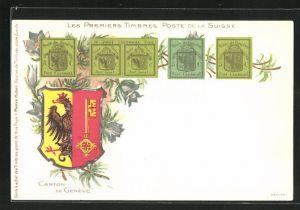 Lithographie Les Premiers Timbres Poste de la Suisse, Schweizerische Briefmarken