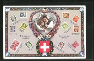 AK Briefmarkensprache / Langage des Timbres, Liebespaar, Schweizer Wappen