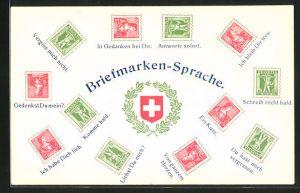 AK Erklärung der Briefmarkensprache, Schweizer Wappen im Kranz aus Lorbeer und Eichenlaub