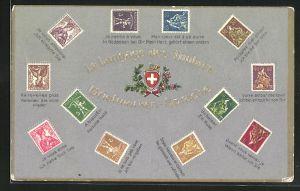 Präge-AK Erklärung der Briefmarkensprache / Langage des Timbres, Schweizer Wappen