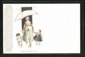 AK Frau in Schwarzwälder Tracht mit Schirm und Kindern