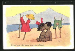 AK Afrikanischer Junge mit Mädchen am Strand