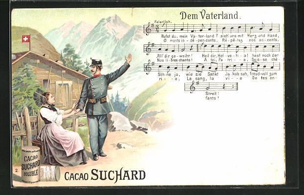 Lithographie Chocolat Suchard, Soldat in Uniform mit Frau und Lied: Dem Vaterland