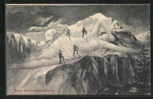AK Die Jungfrau mit Berggesicht und Wanderern, Berggesichter