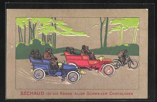 AK Sechaud ist die Krone aller Schweizer Chocoladen, Zwei Autos und Radfahrer