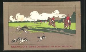 AK Sechaud`s Swiss Chocolates, The Best, That`s All, Reiter mit Hunden
