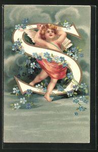 Präge-AK Engel und der Buchstabe S