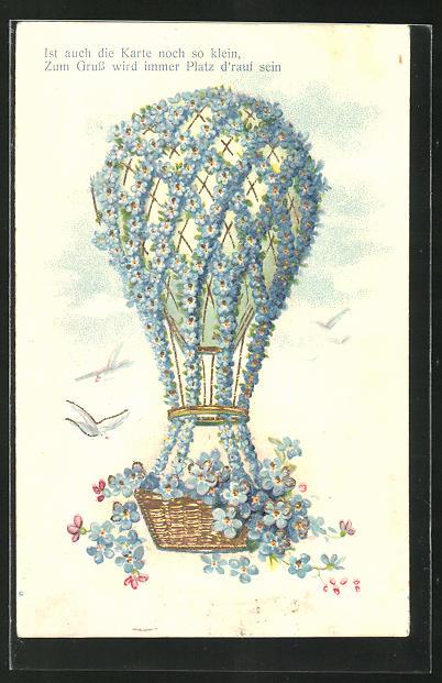 Präge-AK Ballon mit Blumenschmuck