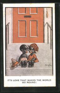 AK Afrikanischer Junge mit Mädchen auf der Treppe