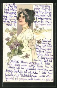 AK Mädchen mit Blumen im Haar und Schleife am Kleid guckt verträumt, Jugendstil