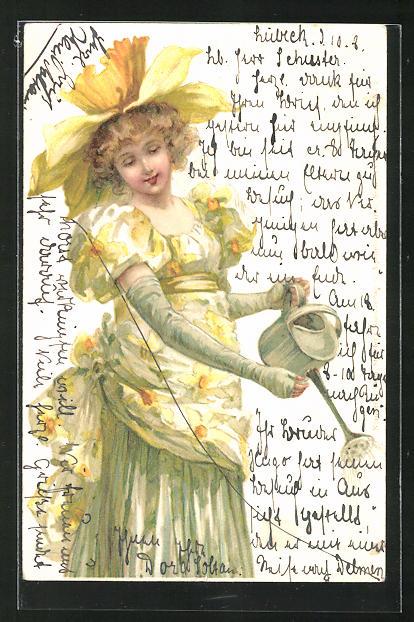 AK Junges Mädchen mit grossem Blüten-Hut giesst die Blumen, Jugendstil