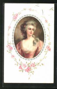 AK Dame im Rokoko-Kleid im blumigen Passepartout-Rahmen, Jugendstil