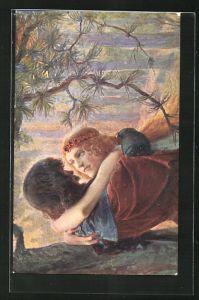 AK Richard Wagner: Tristan und Isolde in inniger Umarmung