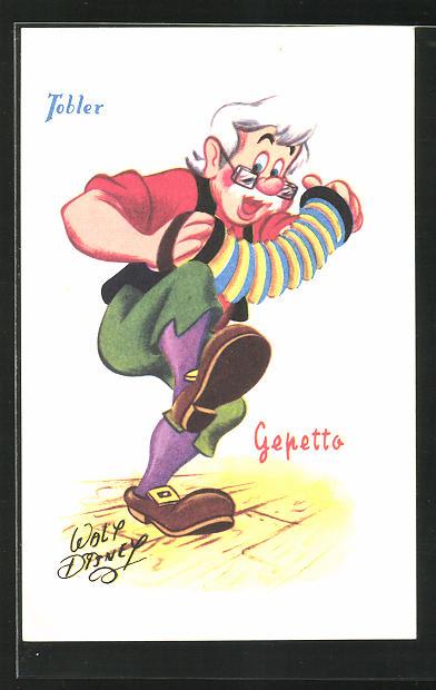 Künstler-AK Walt Disney: Tobler, Gepetto, Pinocchio