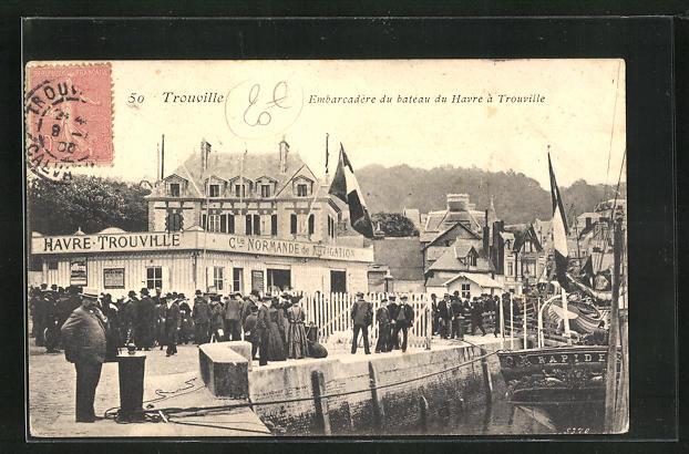 AK Trouville, Embarcadère du bateau du Havre à Trouville