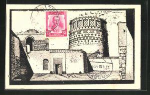 Künstler-AK Kabul, Häuser der Stadt und verzierter Turm