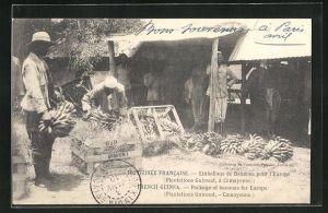 AK Camayenne, Plantations Guiraud, Arbeit auf einer Bananenplantage