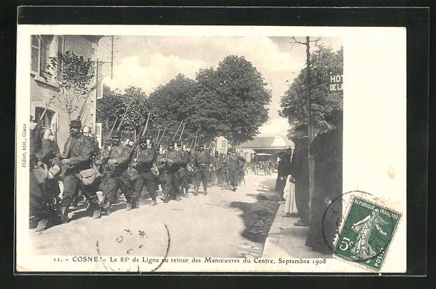 AK Cosne, Le 85e de Ligne au retour des Manoeuvres du Centre, Septembre 1908