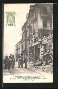 AK Salonique, incendie des 18, 19, 20 Aout 1917, rue Venizelos et Place de la Liberte