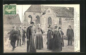 AK Meaux, L`Eveque, visite l`Eglise de Barcy, bombardee pendant la bataille de la Marne, La Grande Guerre 1914-1915