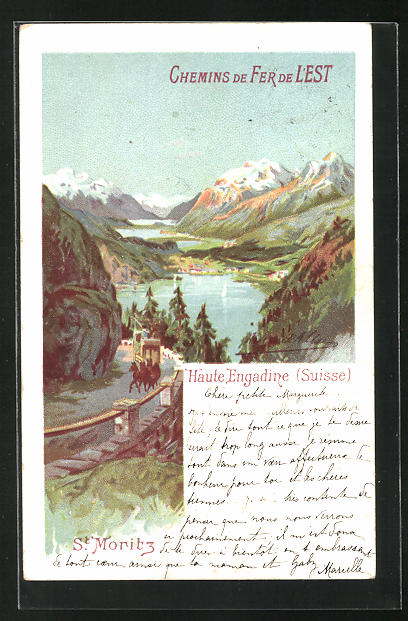 AK St. Moritz, Haute Engadine, Ortspanorama