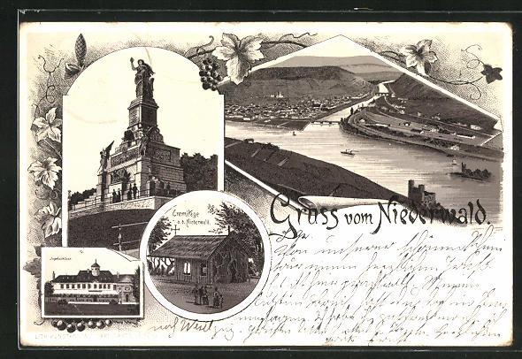 Vorläufer-Lithographie Bingen, 1895, Niederwalddenkmal, Blick auf die Ortschaft, Eremitage, Jagdschloss