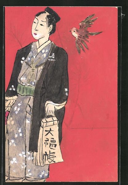 Künstler-AK Handgemalt: Geisha in Tracht und Vogel im Flug