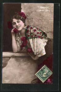 AK Opernsängerin Maria Labia lächelnd