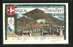 AK Zürich, Eidgen, Turnfest Zürich 1903, Wappen, Menschenversammlung