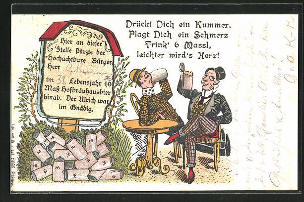 AK Zwei Männer trinken aus Bierkrügen, Drückt dich ein Kummer, plagt dich ein Schmerz, trink 6 Massl