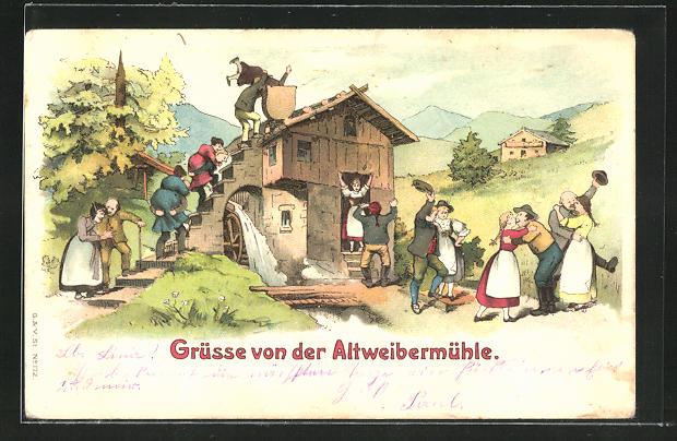 AK Altweibermühle, alte Männer tragen ihre alten Frauen in die Mühle und unten sind die Frauen jung