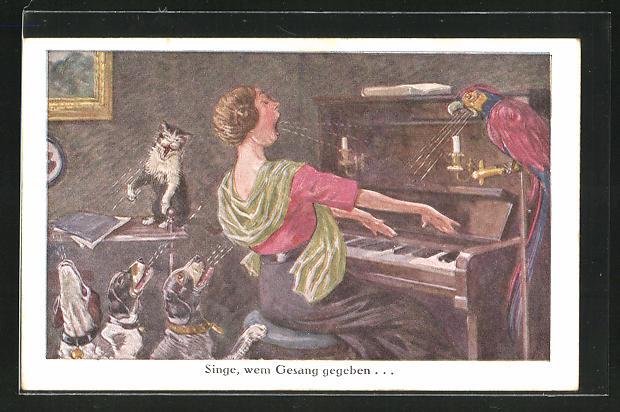 AK Frau am Klavier mit jaulenden Hunden und Katze