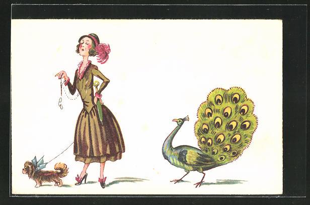 AK Frau mit Hündchen, dahinter Pfau mit Rad