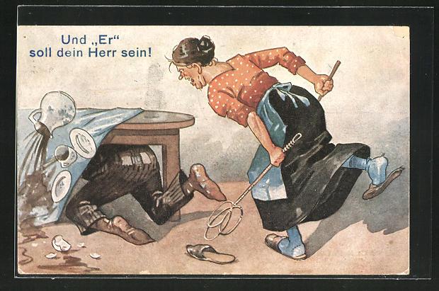 AK Hausfrau jagt Mann unter den Tisch mit Teppichklopfer, Und Er soll dein Herr sein