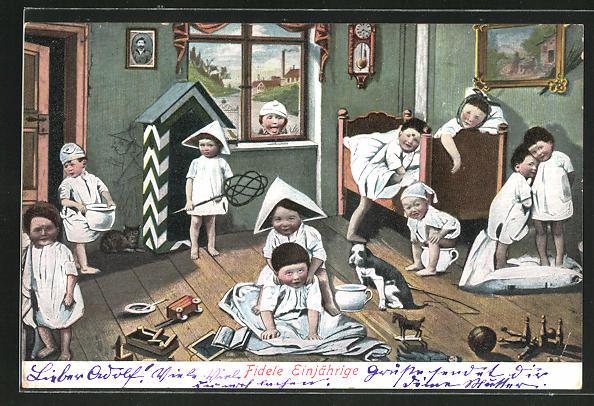 AK Kinder im Spielzimmer, alle mit Töpfen