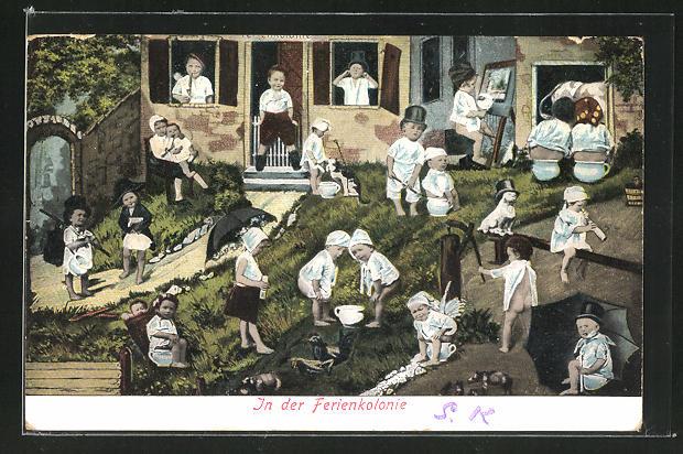 AK Kinder auf Töpfchen in der Ferienkolonie