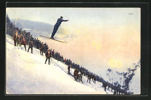 AK Skispringen im Schnee in den Bergen