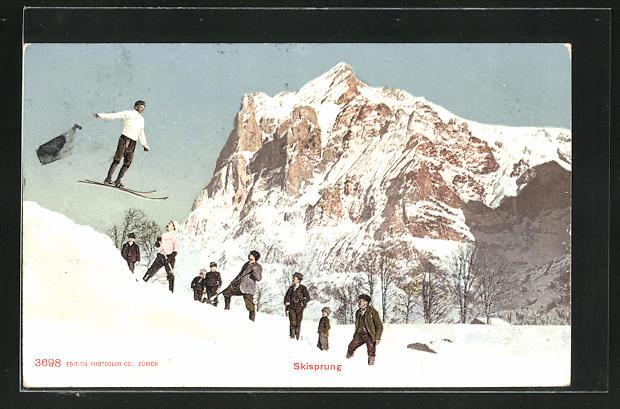 AK Skisprung, Skifahrer in den Bergen
