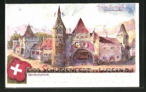 Künstler-Lithographie Luzern, Eidgen. Schützenfest 1901, grosse Festhalle und Länderwappen