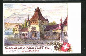 Künstler-Lithographie Luzern, Eidg. Schützenfest 1901, Empfangspavillon und Gabenhallen