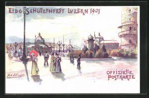 Künstler-Lithographie Luzern, Eidg. Schützenfest 1901, Besucher vor der Festhalle